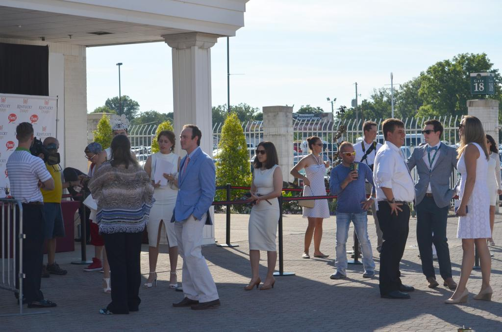 Soon after the gates opened for the night's racing, the Derby trophy area became a popular hangout area. (Melissa Bauer-Herzog/America's Best Racing)