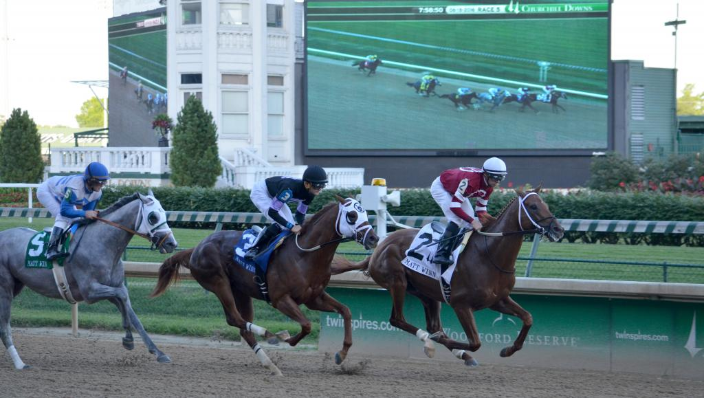 It didn't take long for Gun Runner to go to the lead in the 1 1/16-mile race after they broke from the gate; he was in control of the field nearly immediately. (Melissa Bauer-Herzog/America's Best Racing)