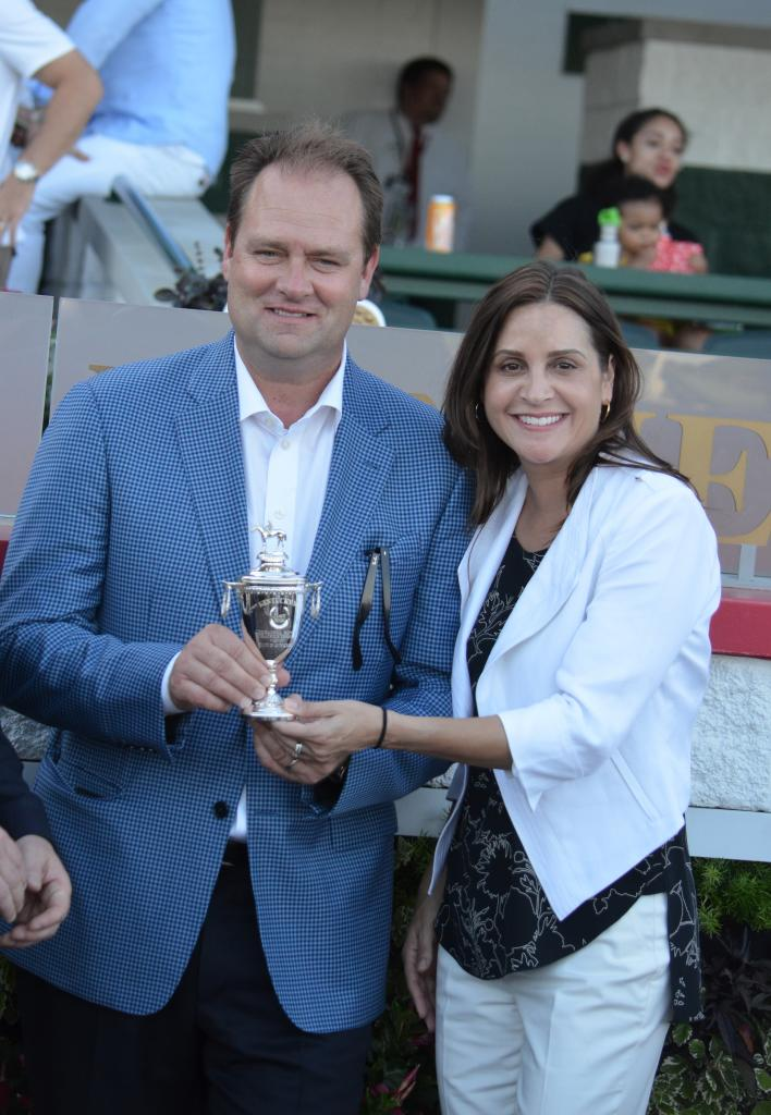 As Untapable and the other five fillies and mares in the field prepared for the Longines Breeders' Cup Distaff Win and You're In race, O'Neill received his newly engraved Kentucky Derby trophy. (Melissa Bauer-Herzog/America's Best Racing)