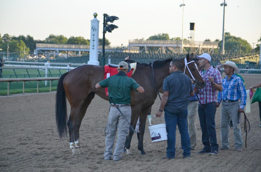 The race also ended an era with Untapable returning after the race to get unsaddled for the final time. It was announced Sunday night that the champion Kentucky Oaks and Breeders' Cup Distaff winner has been retired. (Melissa Bauer-Herzog/America's Best Racing)
