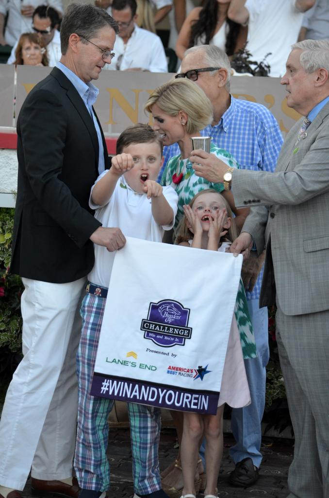 I'm not sure anyone is as excited about earning an automatic berth to the Breeders' Cup as these two. (Melissa Bauer-Herzog/America's Best Racing)