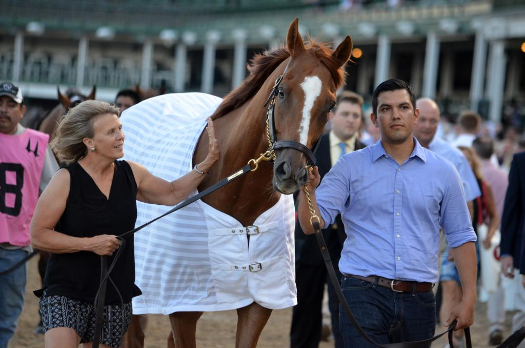 But our attention was quickly redirected the other way as we saw a huge chestnut gelding walking over. Wise Dan was on his toes and looked like he'd happily be tacked up for the race. (Melissa Bauer-Herzog/America's Best Racing)
