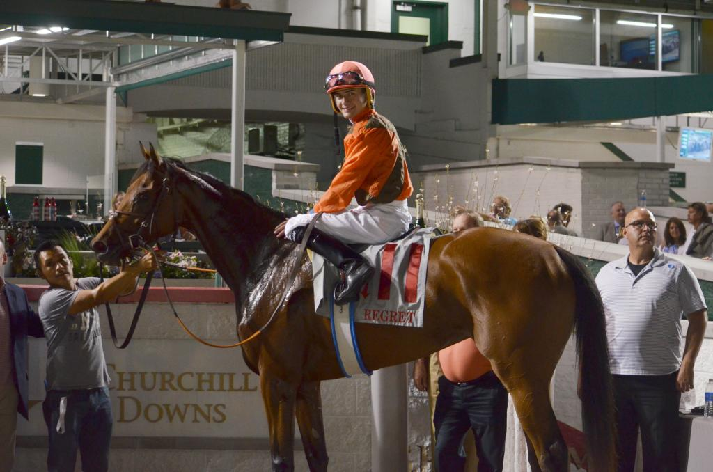 In the final stakes race of the night, Auntie Joy, who finished third to Catch a Glimpse on Kentucky Oaks day, got her win on the turf in the Regret to end a great night of racing.  (Melissa Bauer-Herzog/America's Best Racing)
