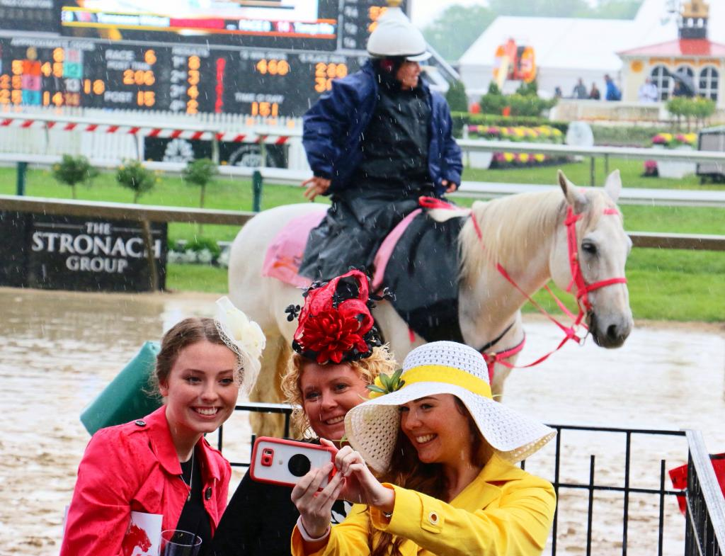 Capturing the perfect Preakness selfie with a pony. (Julie June Stewart photo)