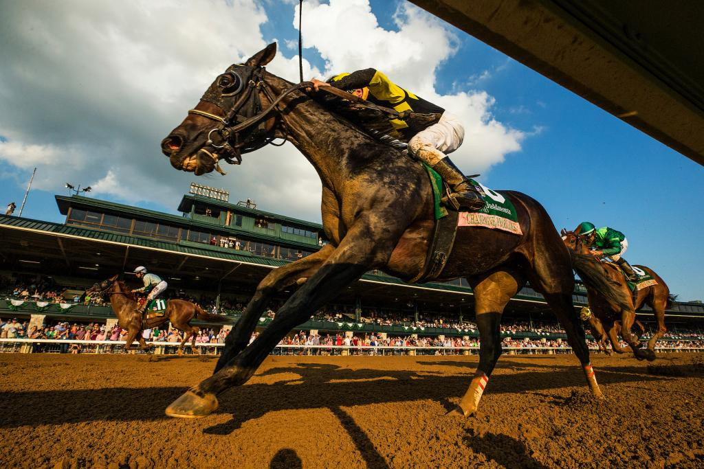 Graded stakes winner Champagne Problems, inside, finishing second in the Spinster at Keeneland. (Eclipse Sportswire)