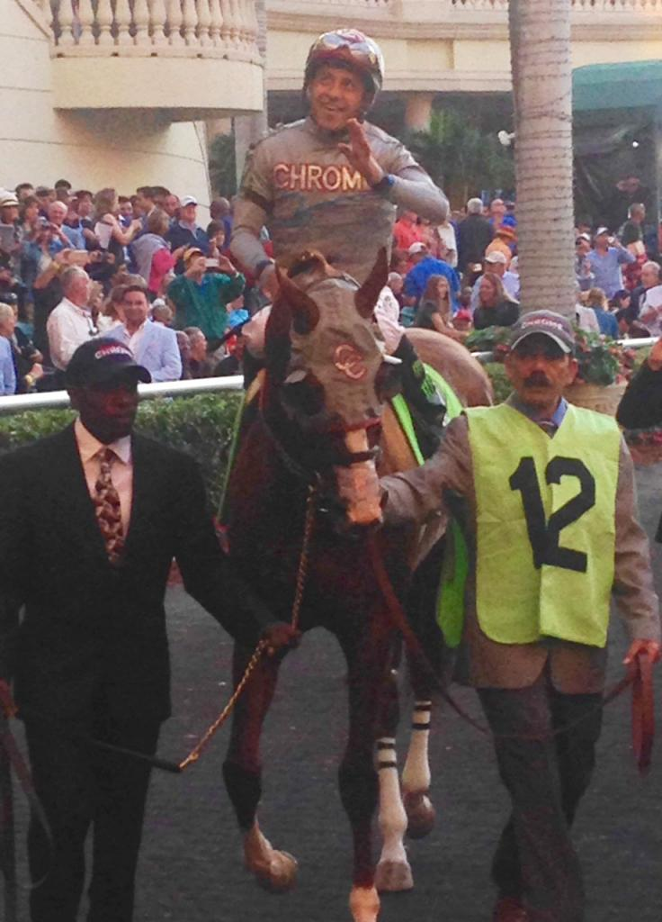 Victor Espinoza rides California Chrome to the track for the last time. (Courtesy Diane Salek)