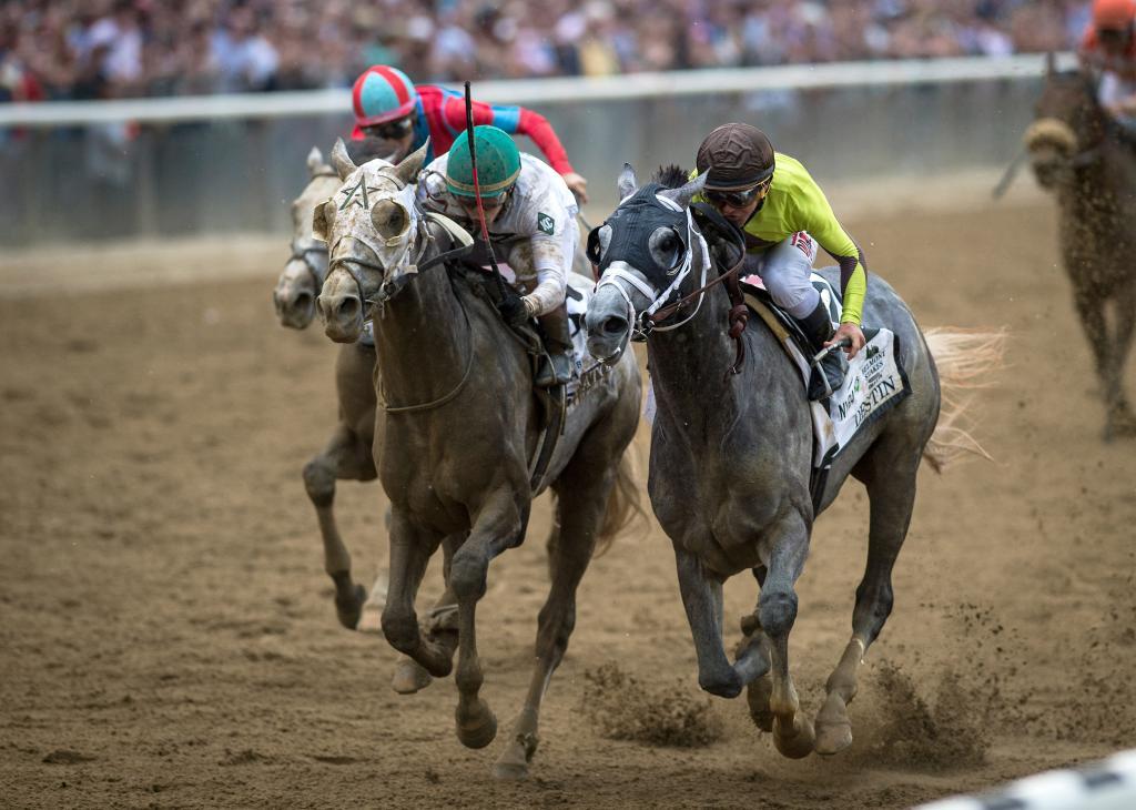 Creator draws alongside Destin in the Belmont. (Eclipse Sportswire)