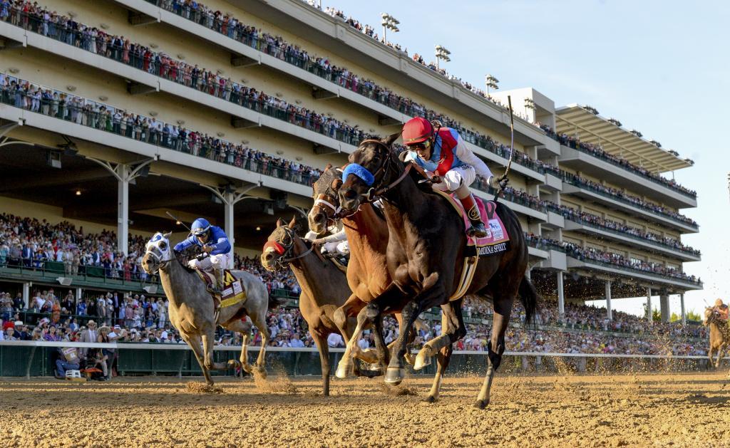 Medina Spirit winning the 2021 Kentucky Derby. (Eclipse Sportswire)