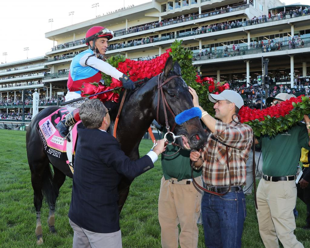 Medina Spirit gets the garland of roses after winning the 2021 Kentucky Derby. (Coady Photography)