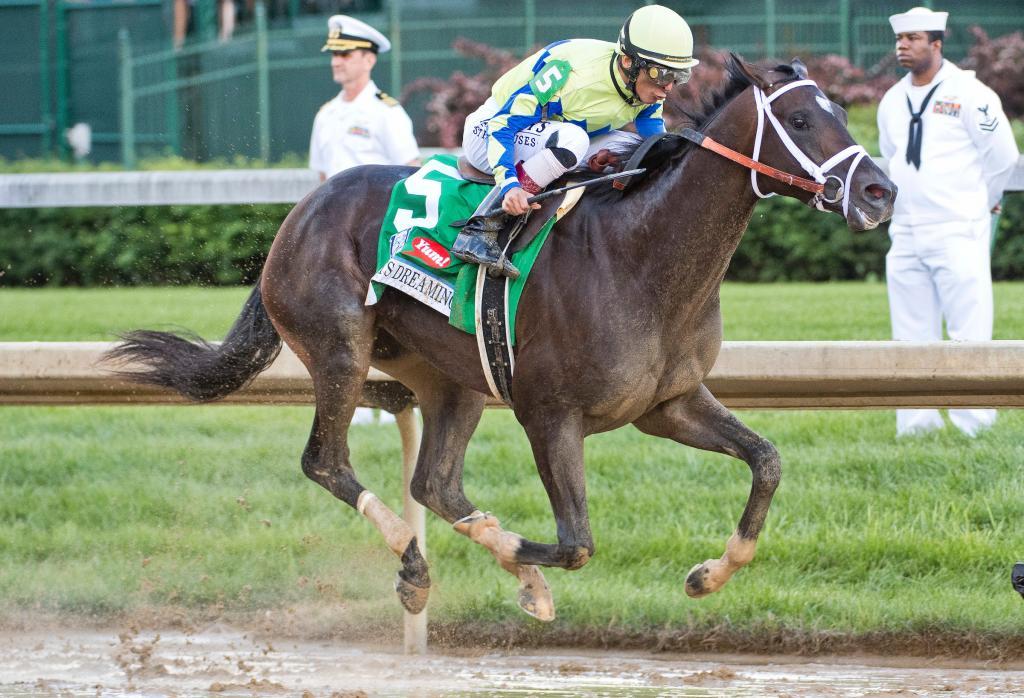 Always Dreaming and jockey John Velazquez win 2017 Kentucky Derby. (Eclipse Sportswire)