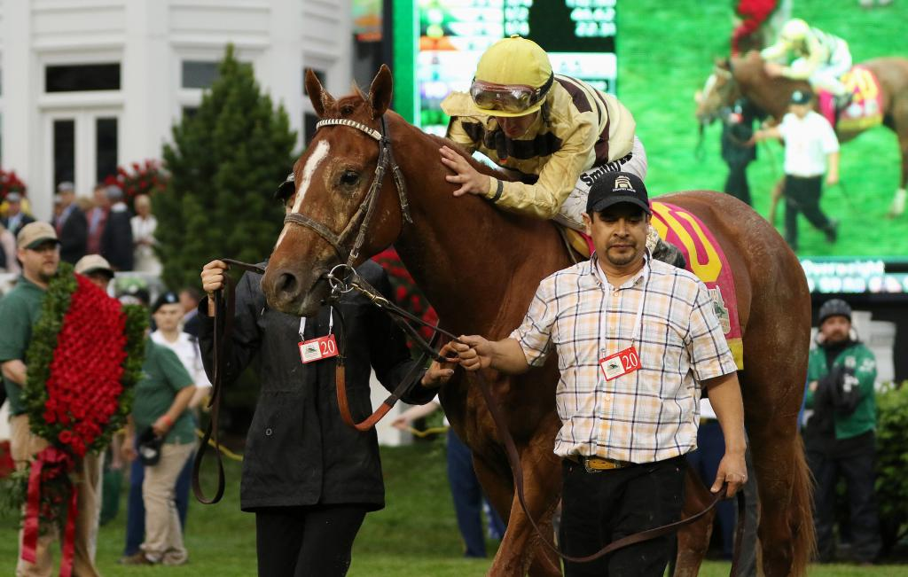 Country House in the Derby winner's circle. (Eclipse Sportswire)