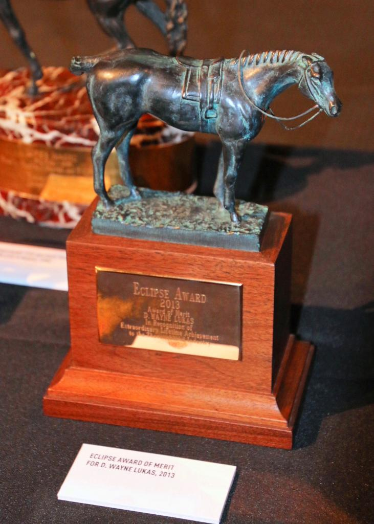 Eclipse Award given to D. Wayne Lukas in 2013. (Julie June Stewart photo)