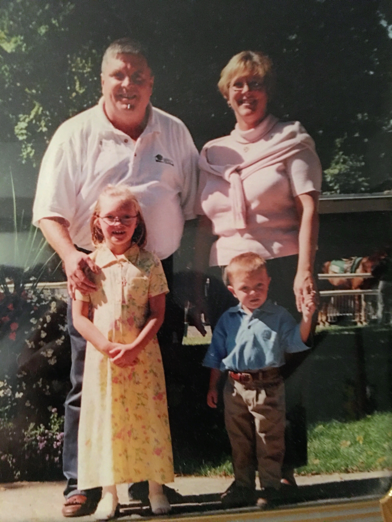 Harry Rice III, Joan Rice, Meghan (sister), and Harry Rice IV at Belmont Park in 1998. (Courtesy of the Rice Family)