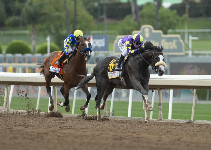 Honor A. P. winning the Grade 1 Runhappy Santa Anita Derby June 6.