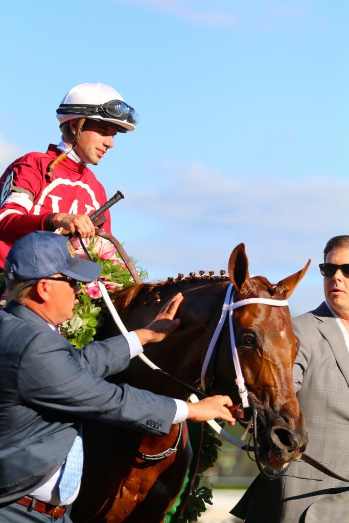 Gun Runner returns victorious. (Penelope P. Miller/America's Best Racing)