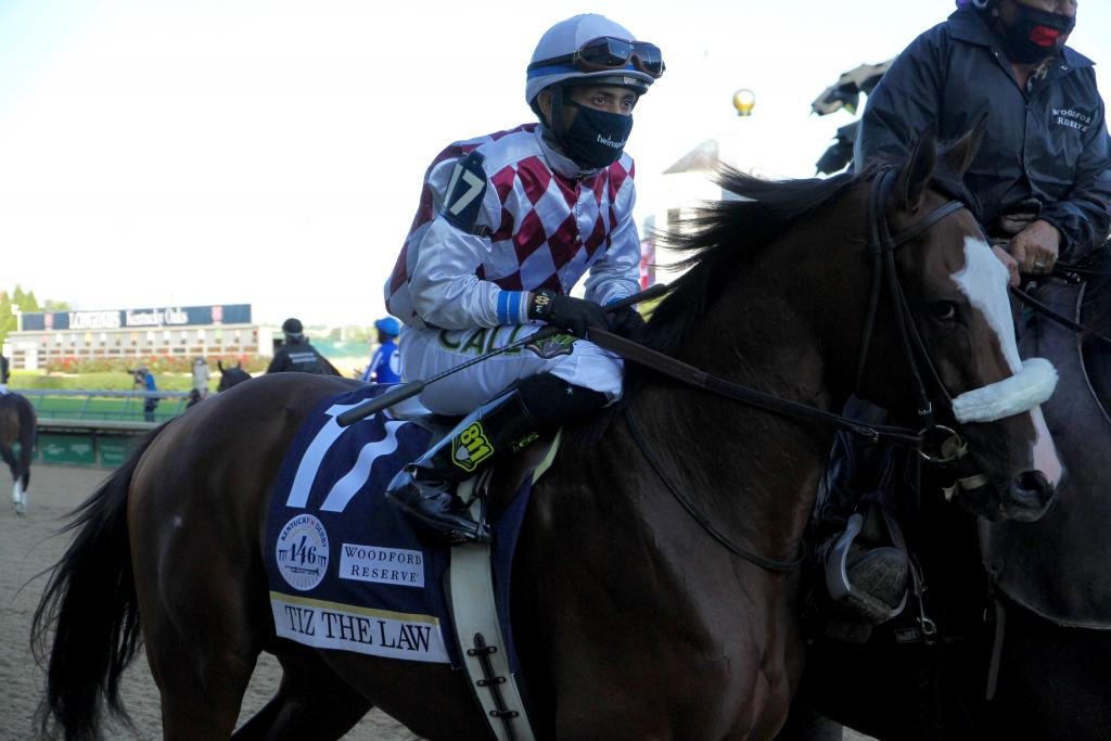 Tiz the Law and jockey Manny Franco in the Kentucky Derby post parade. (Annise Montplaisir/America's Best Racing)