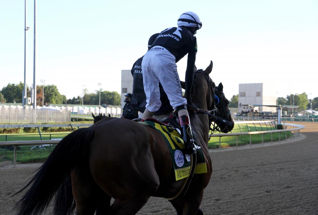 Authentic and jockey John Velazquez in the Kentucky Derby post parade. (Annise Montplaisir/America's Best Racing)