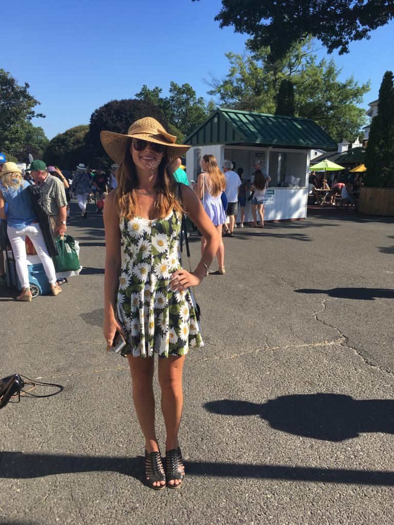 "The 50th Haskell was a first for Amber, of West Long Branch, N.J., who said: ""I just kept looking in my closet until I found something appropriate."" Perfect look for a perfectly sunny day at the track. (Pia Catton photo)"