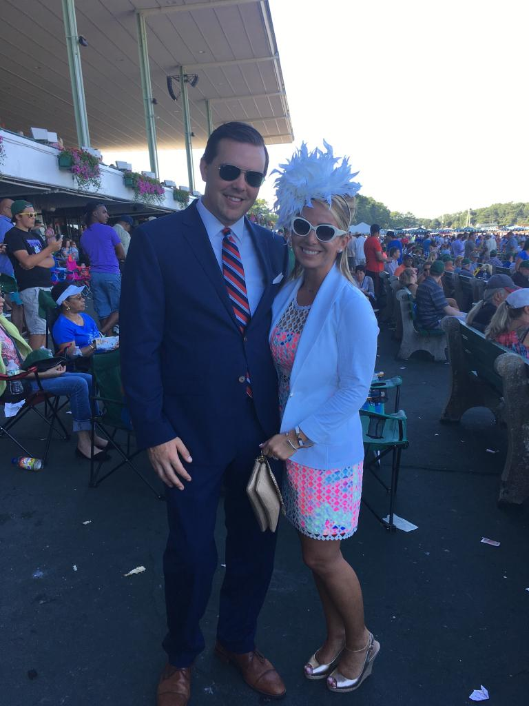 Emilee Carton wore one of the feathery fascinators around the track on Sunday. And Brian Skirka is wearing a suit because he's at work! Brian runs marketing for Monmouth Park. (Pia Catton photo)