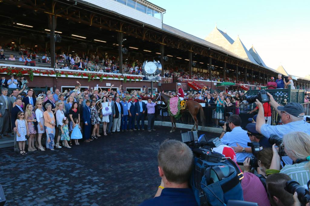 The Whitney Stakes winner's circle. (Penelope P. Miller/America's Best Racing)