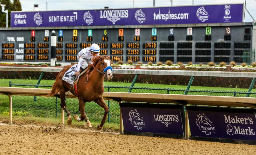 Improbable winning the Street Sense Stakes in fall 2018 at Churchill Downs. (Eclipse Sportswire)