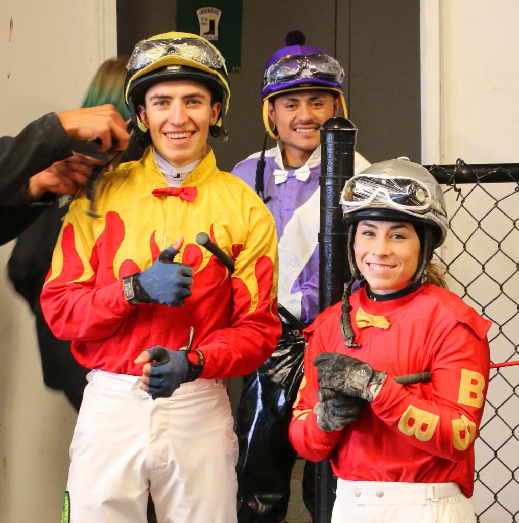 Jake and Kassie with fellow jockey Francisco Orduna-Rojas. (Julie June Stewart photo)