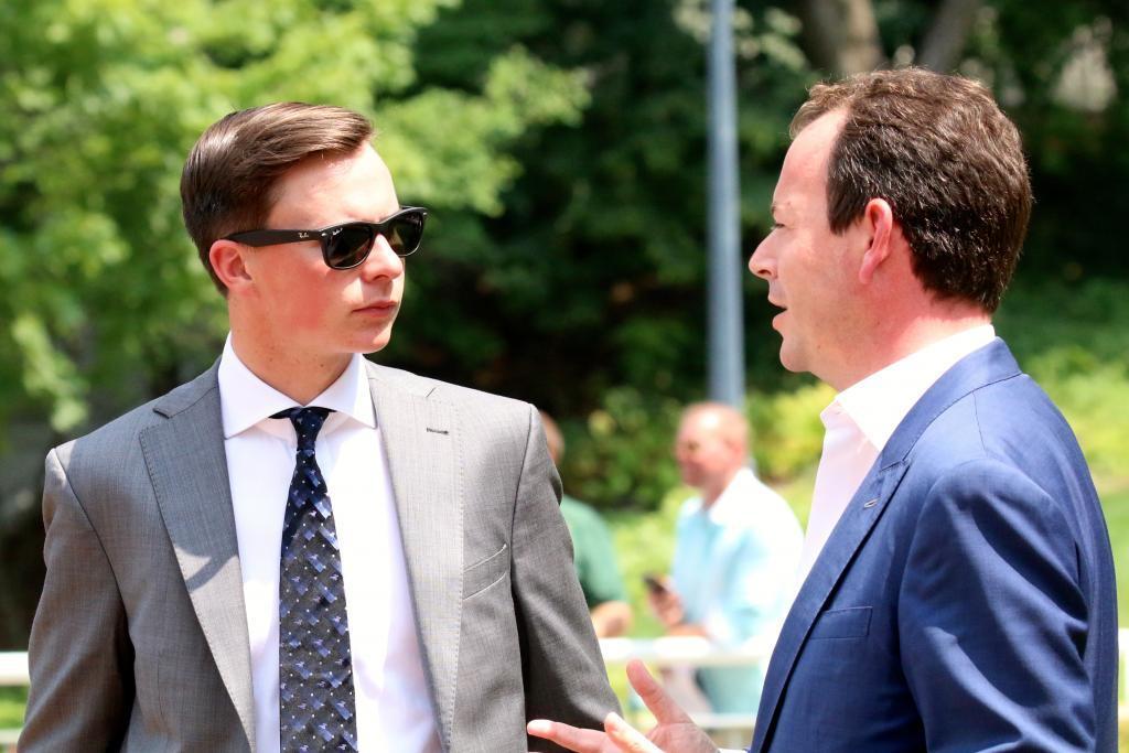 Trainer Joseph O'Brien talks to NBC's Nick Luck at Arlington.  (Penelope P. Miller/America's Best Racing)