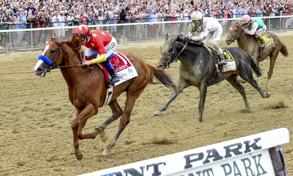 Justify wins the Belmont Stakes. (Eclipse Sportswire)