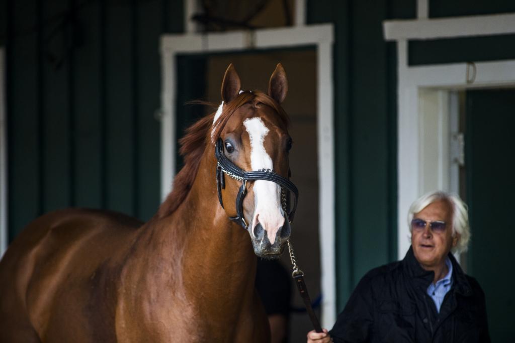 Justify with trainer Bob Baffert. (Eclipse Sportswire)