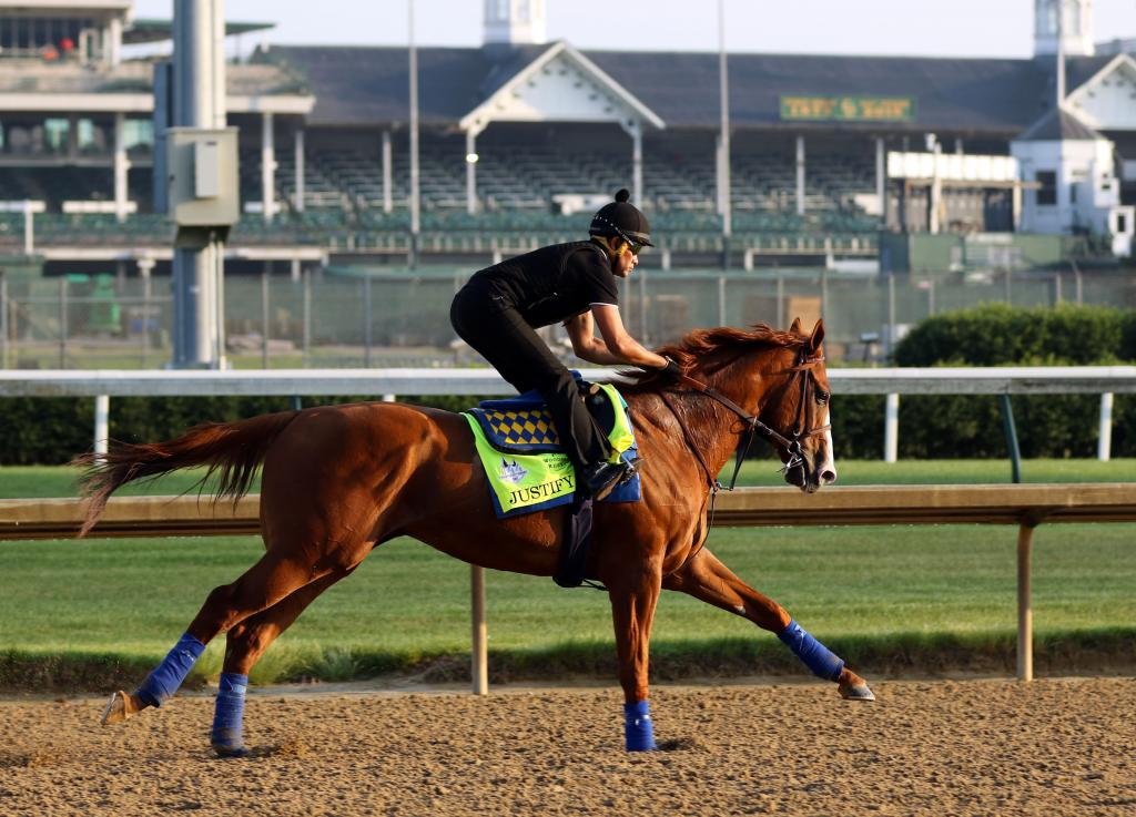 Justify trains at Churchill Downs. (Eclipse Sportswire)