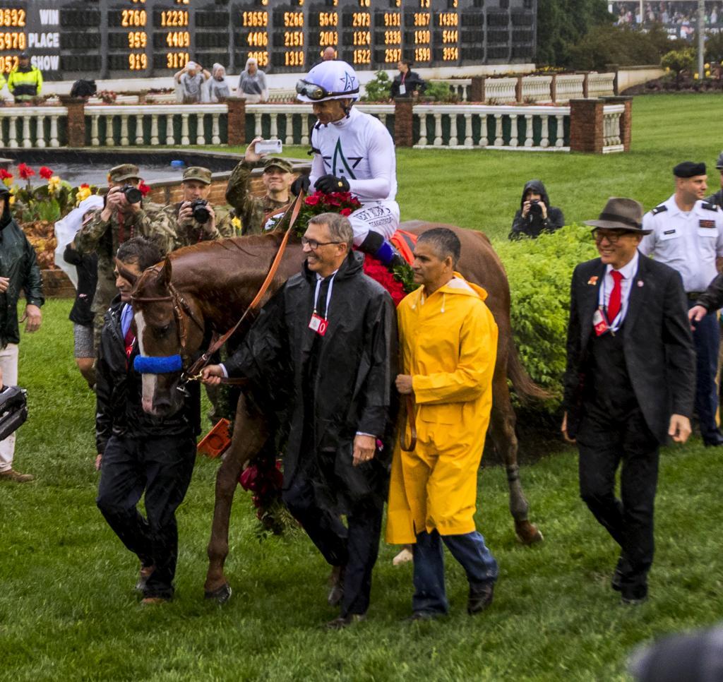 Justify after winning the Kentucky Derby. (Eclipse Sportswire)