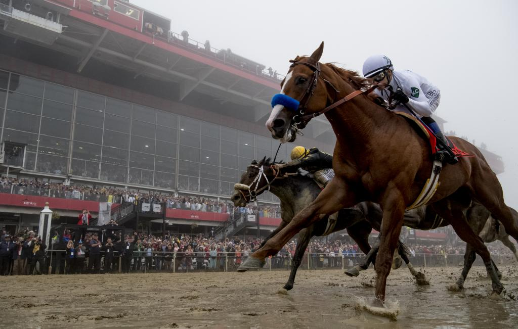 Justify wins a foggy edition of the Preakness Stakes. (Eclipse Sportswire)