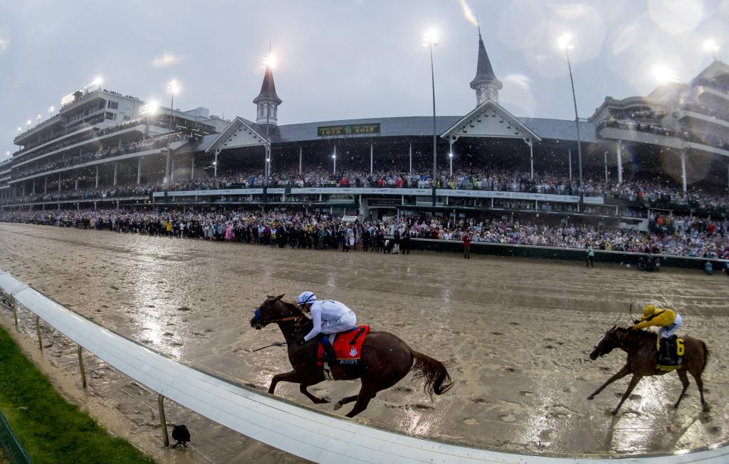 Justify winning the Kentucky Derby on May 5. (Eclipse Sportswire)