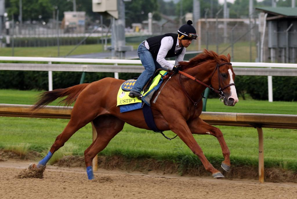 Justify working at Churchill Downs in preparation for the Belmont Stakes. (Eclipse Sportswire)