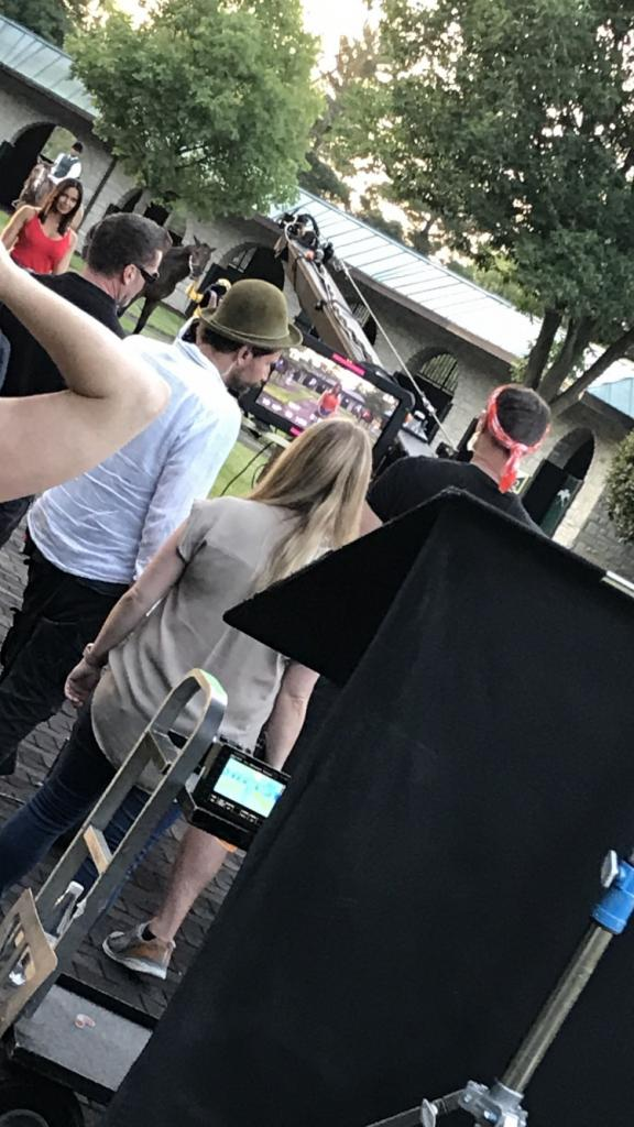 Filming in the Keeneland paddock (Courtesy Christa Marrillia)