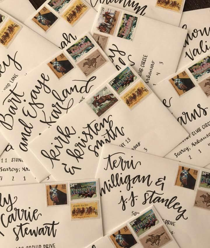 The stamps and lettering to complete the invitations. (Courtesy of Sara Dacus)