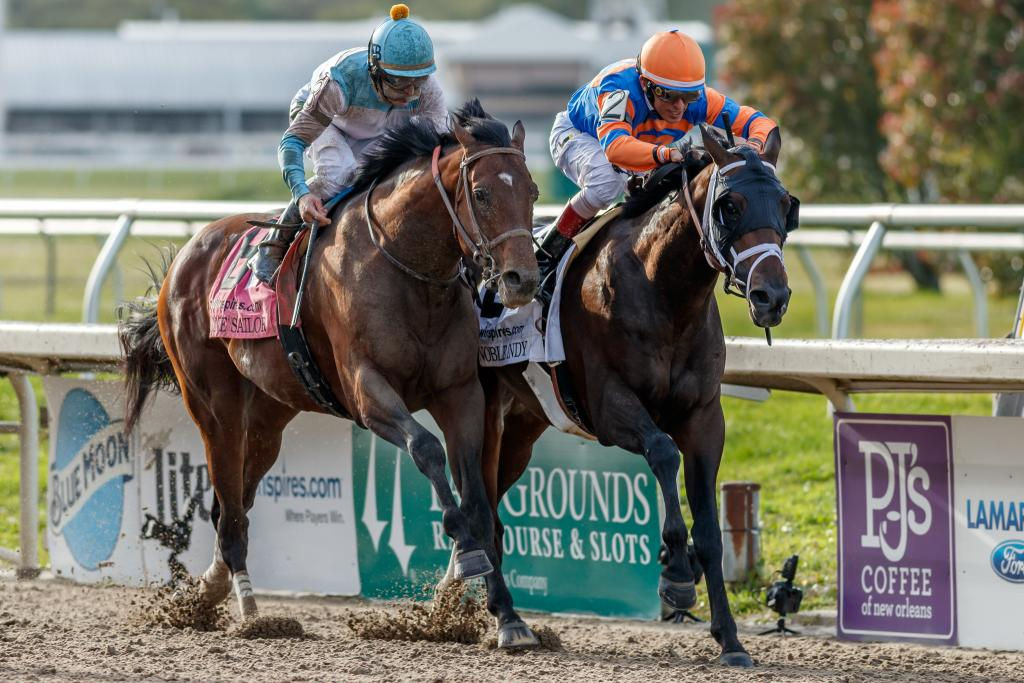 Lone Sailor, outside, in his runner-up finish in the 2018 Louisiana Derby. (Eclipse Sportswire)