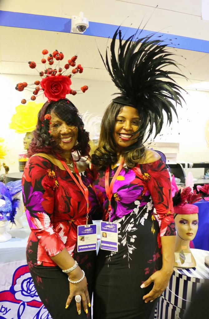 Margie Hicks, owner of Hats by Marjae, and friend modeling two of their finest. (Julie June Stewart photo)