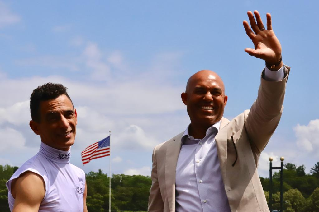 New York Yankees Hall of Fame closer Mariano Rivera was the New York Racing Association's guest of honor July 12 at Saratoga. (Penelope P. Miller/America's Best Racing)