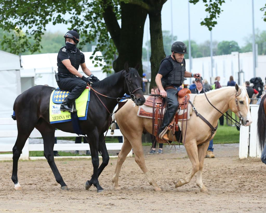 Medina Spirit at Churchill Downs schooling and exercising Derby week. (Coady Photography)