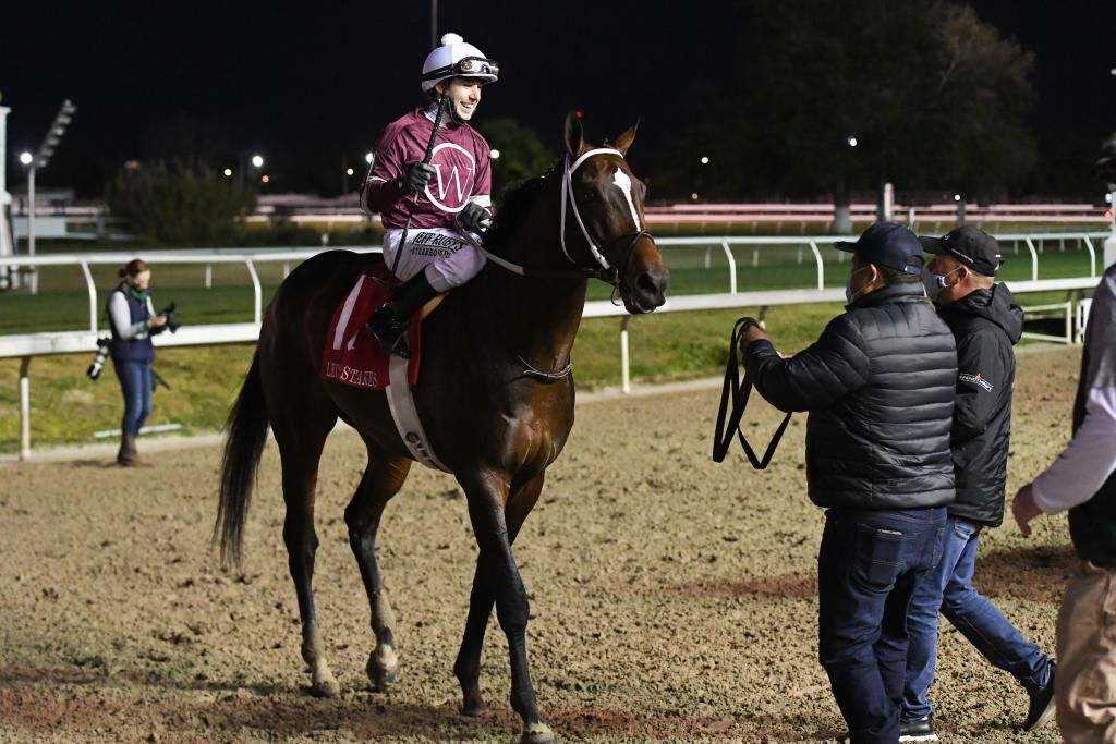 Lecomte Stakes winner Midnight Bourbon, runner-up in the Twinspires.com Louisiana Derby.