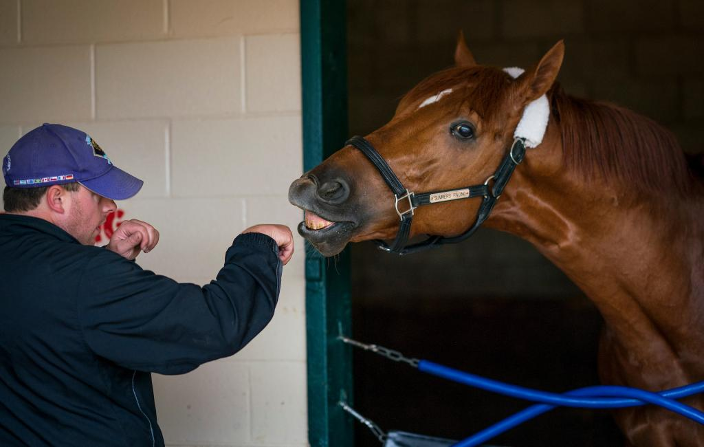 Mind Your Biscuits with trainer Chad Summers. (Eclipse Sportswire)