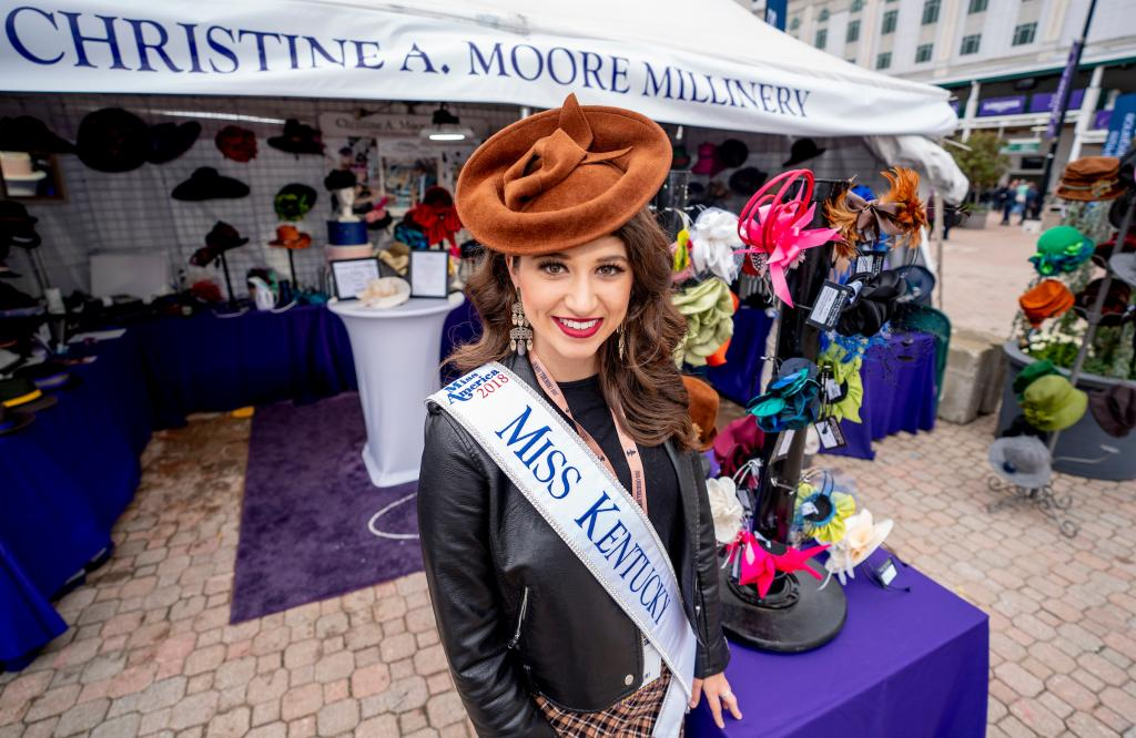 Miss Kentucky Katie Bouchard modeled millinery on Future Stars Friday. (Eclipse Sportswire)