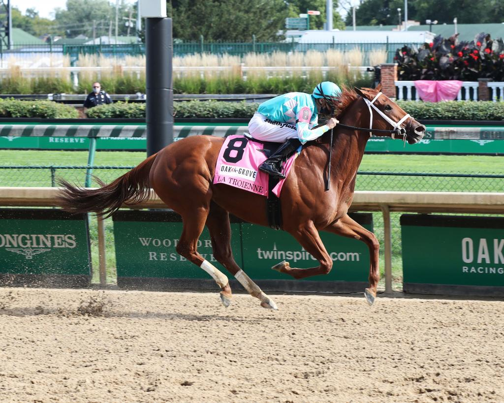 Champion Monomoy Girl, winner of the 2018 Longines Breeders' Cup Distaff and most recently  the Grade 1  La Troienne Stakes Sept. 4 at Churchill Downs. (Coady Photography)