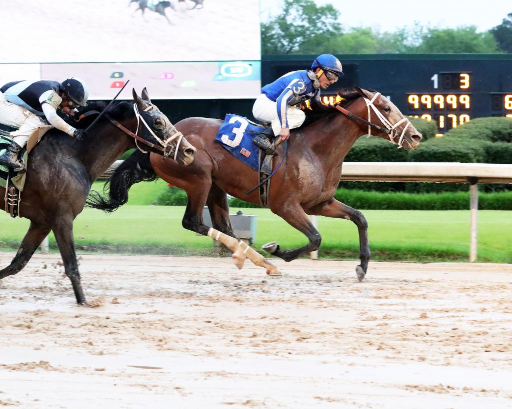 Mr. Big News winning the Oaklawn Stakes in April.