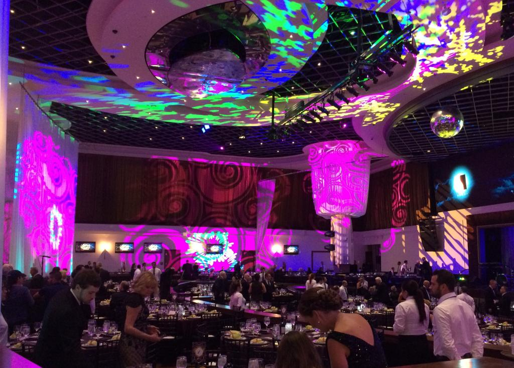 The lighting at the Eclipse Awards dinner recalled the flower power era of the late 1960s. (Julie June Stewart photo)