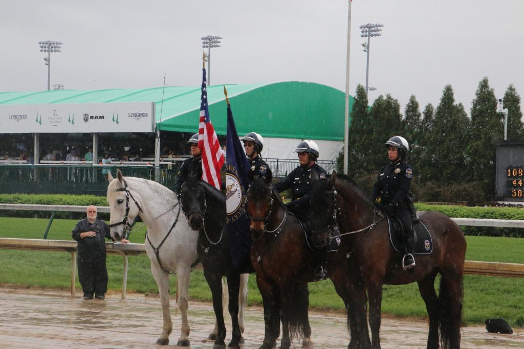 National Anthem horses at attention. (Julie June Stewart photo)