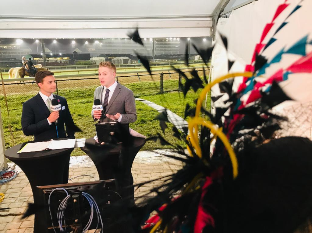 On the set at Churchill Downs. (Photo provided by WHAS)