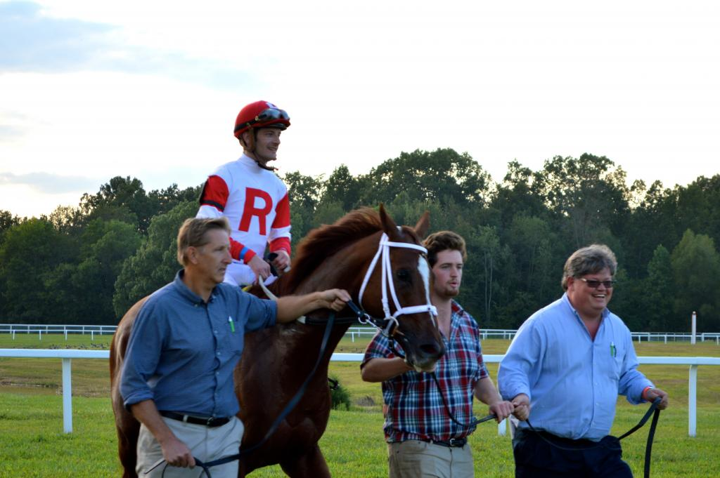 Oscar Nominated and Leparoux after their Turf Cup win. (Sara Dacus photo)