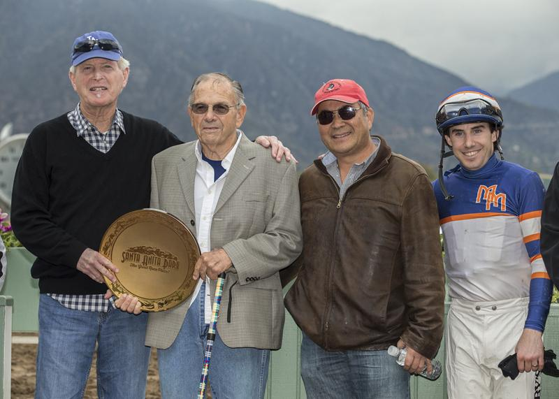 Left to right: owner Nick Alexander, Bill Spawr, trainer Steve Miyadi, jockey Joe Talamo. (BENOIT photo)